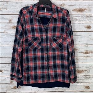 Free People Button Up Plaid Shirt Size Small